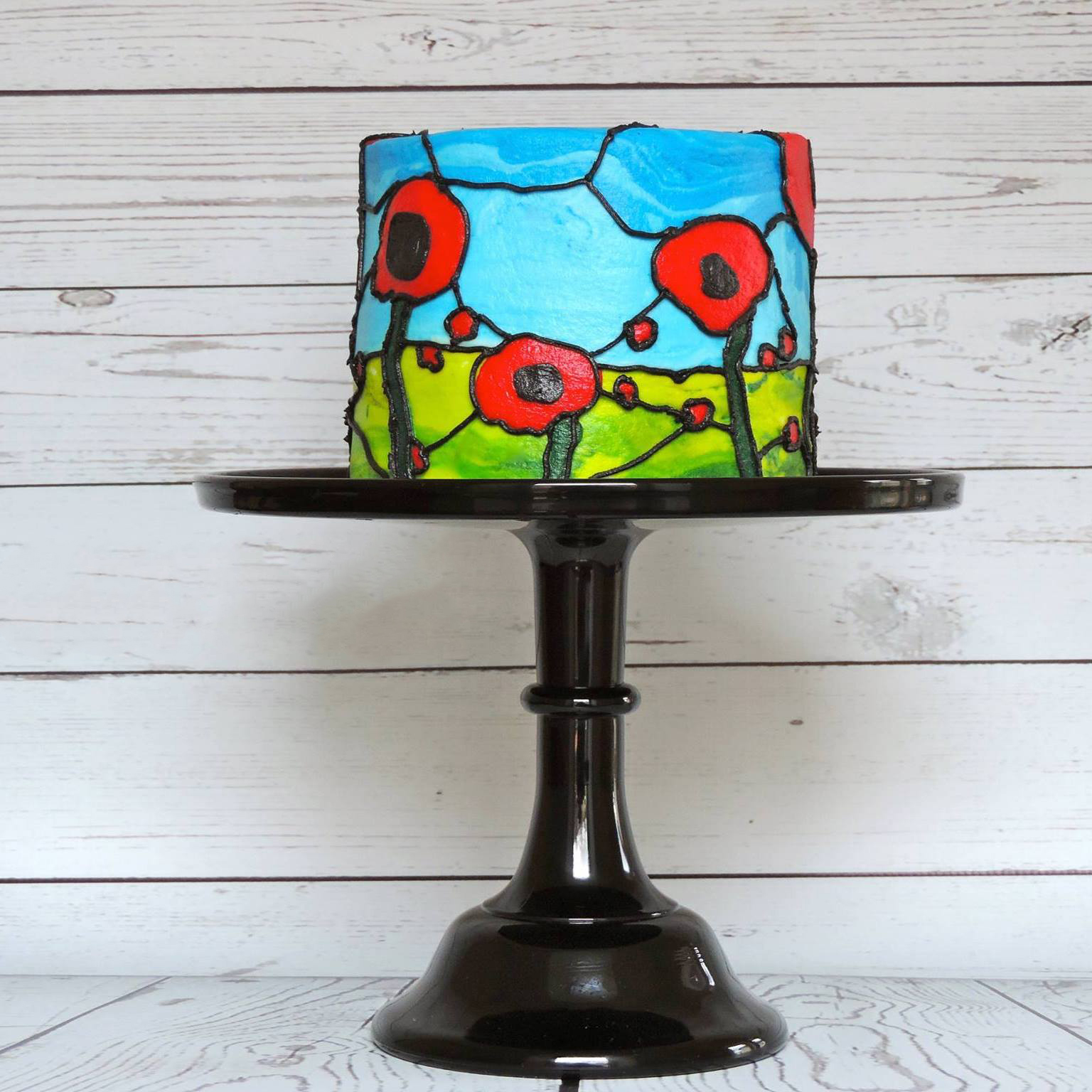 Mini Poppy stained glass birthday