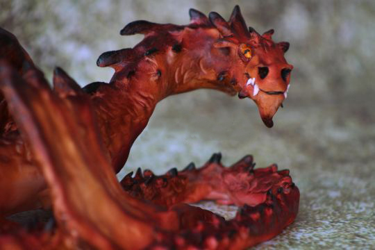Mythical red dragon