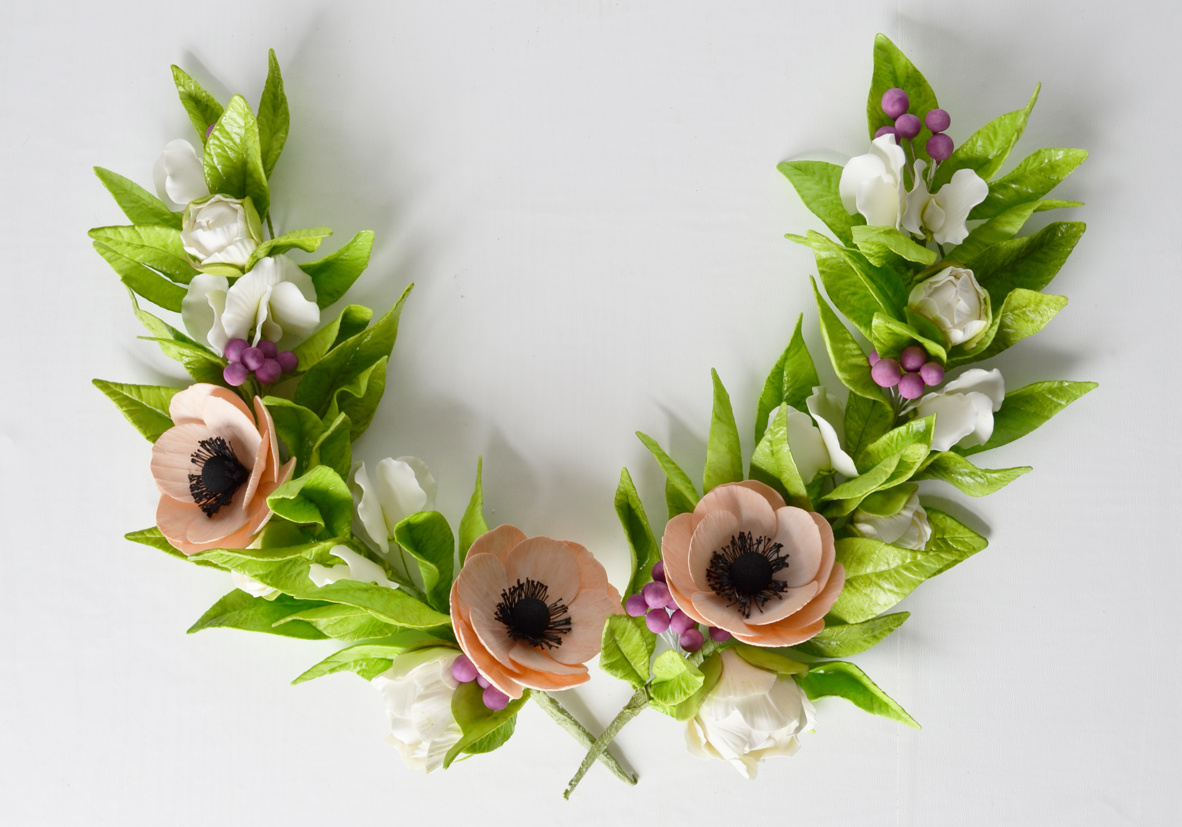 gum paste floral wreath