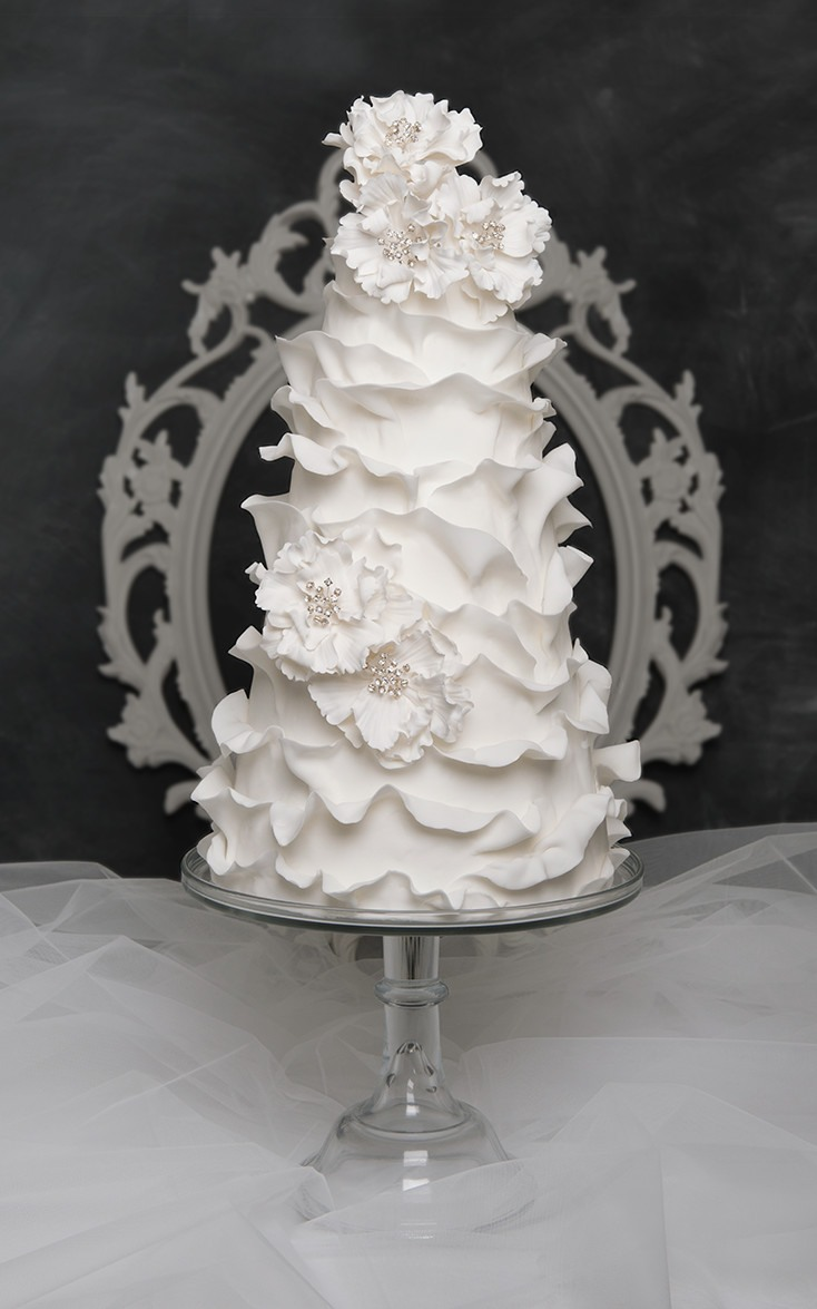 Modern White Ruffle Wedding Cake