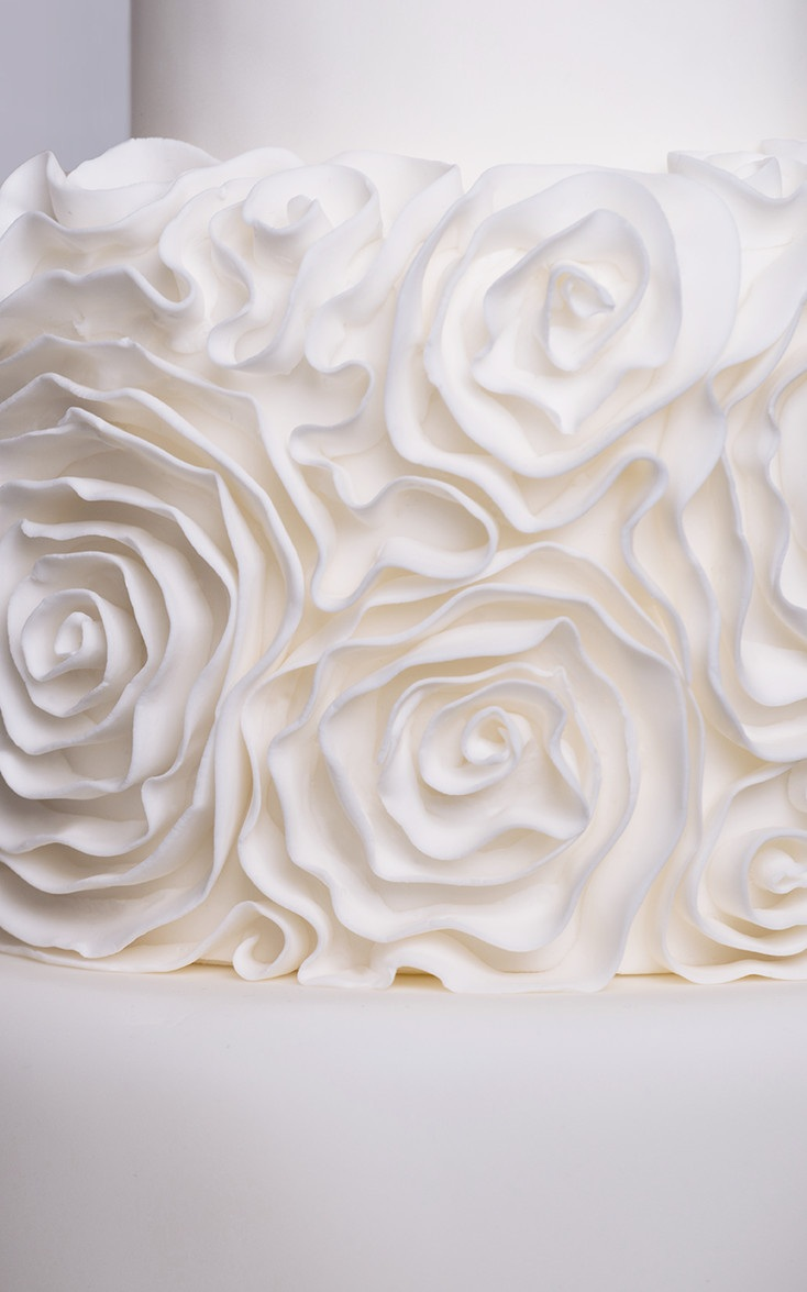 Modern White Ruffle Rosette Wedding Cake Close Up