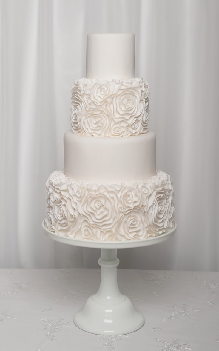 Modern White Ruffle Rosette Wedding Cake