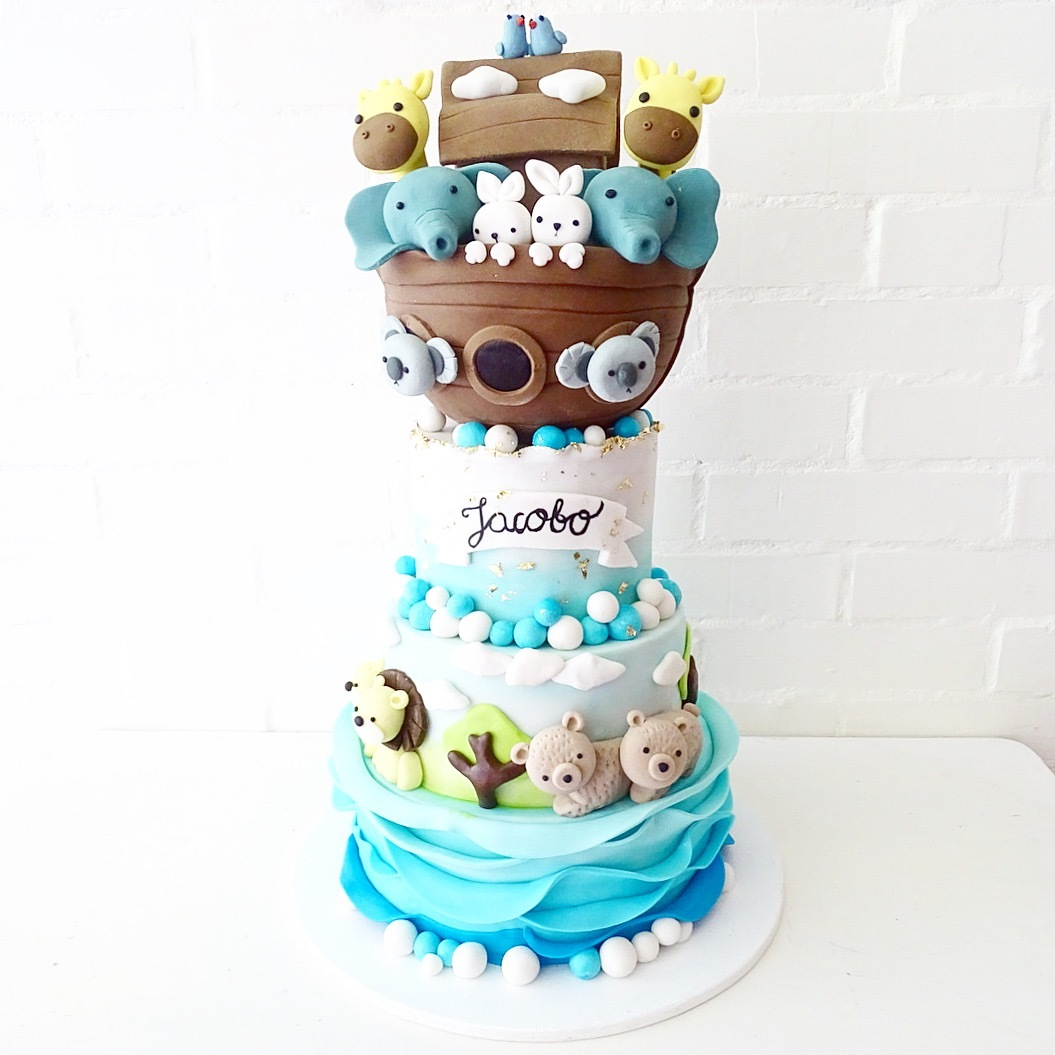 Noah's arc baby shower cake