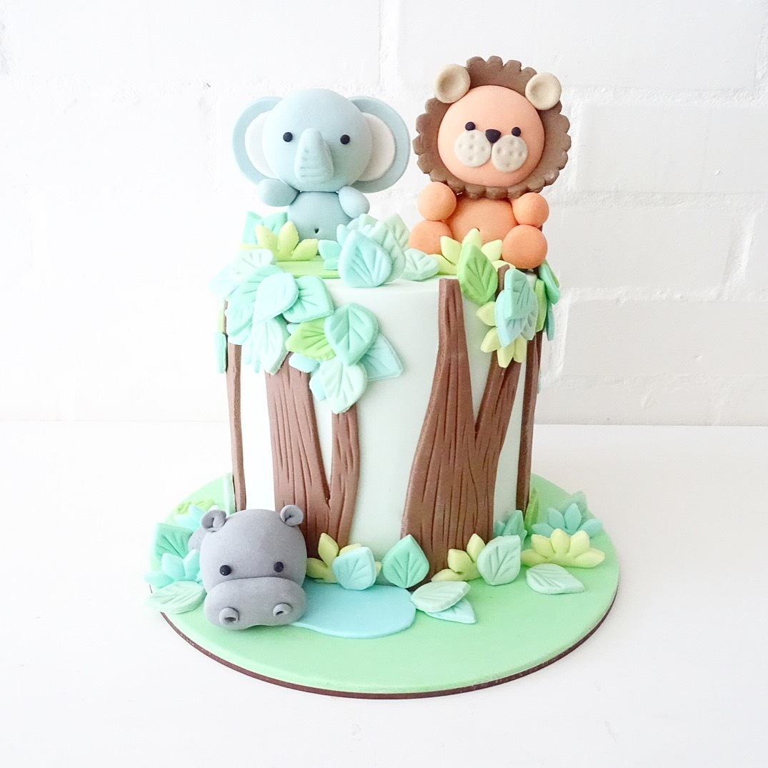 Safari fondant birthday cake with toppers