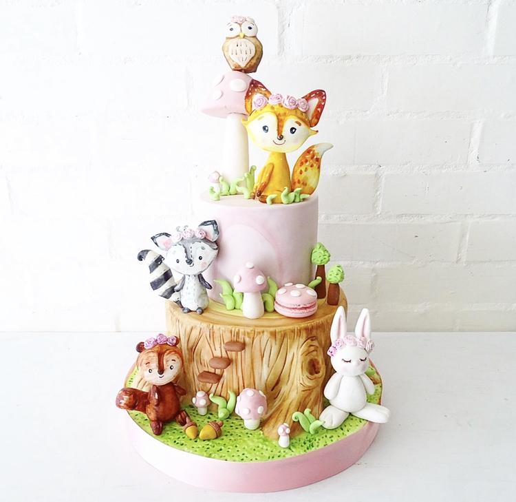 Woodland baby cake