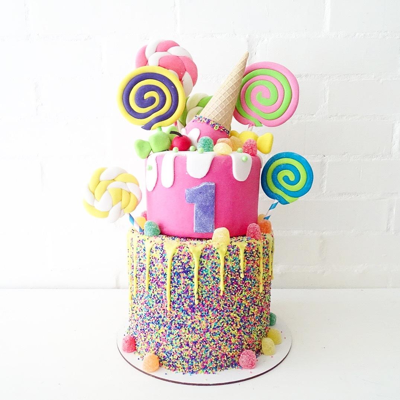 Candyland fondant 1st birthday cake