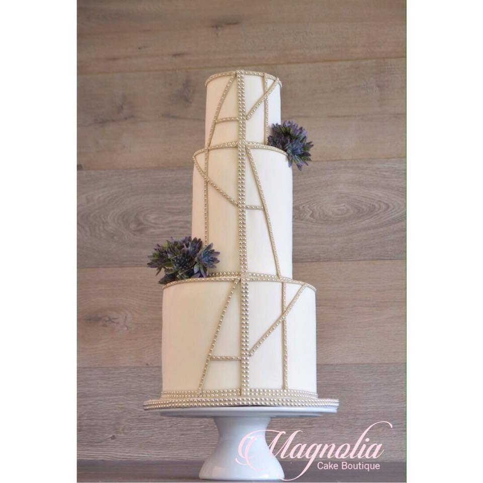 Ivory wedding cake with bling