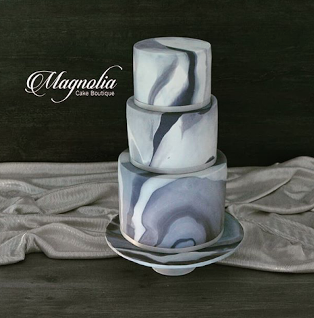 Black and charcoal marble wedding cake