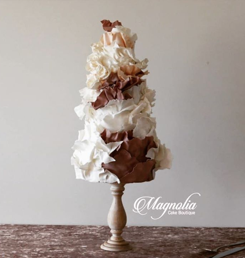Burgundy with white frill ruffle wedding cake