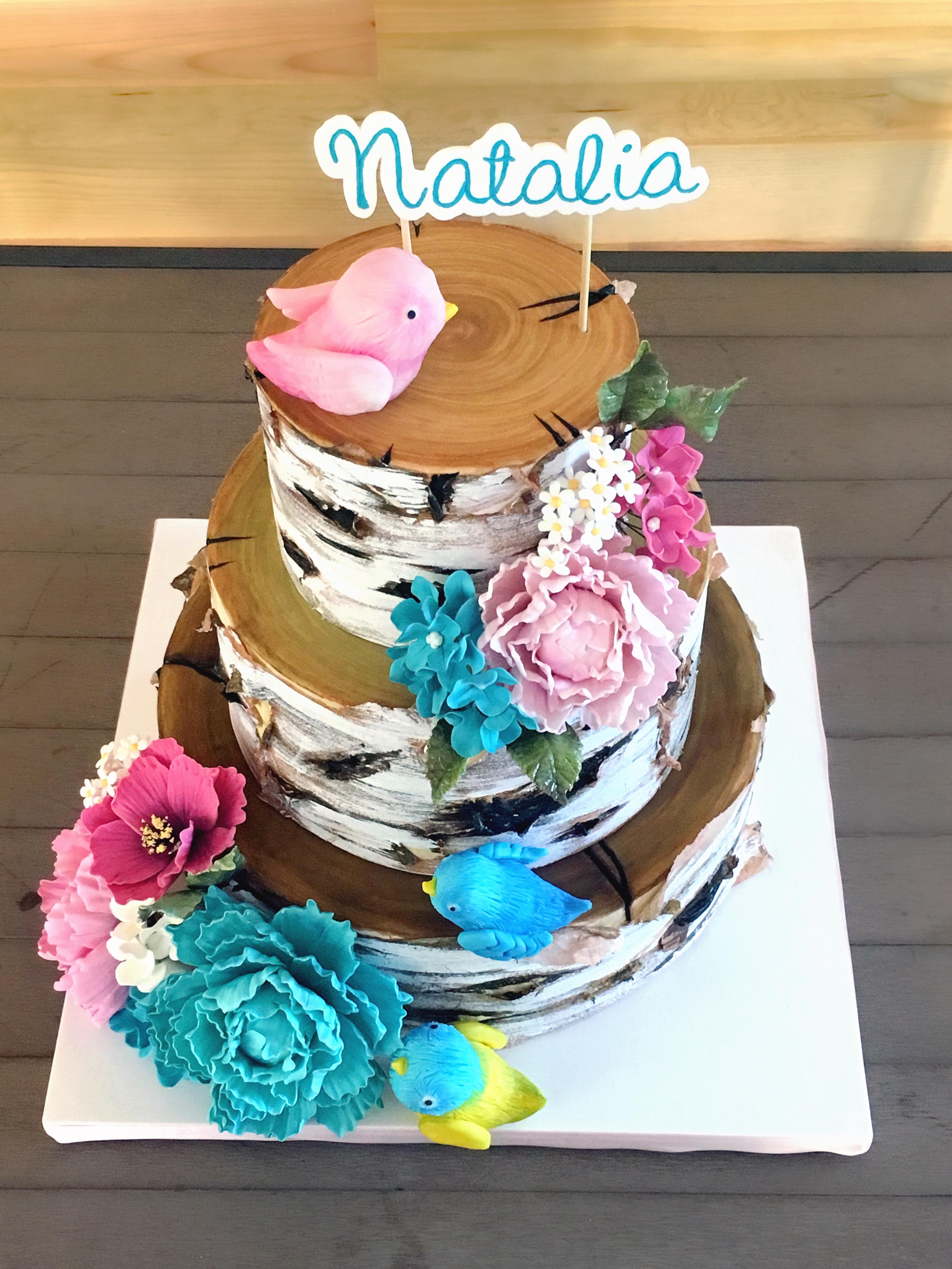 Rustic birch fondant wedding cake