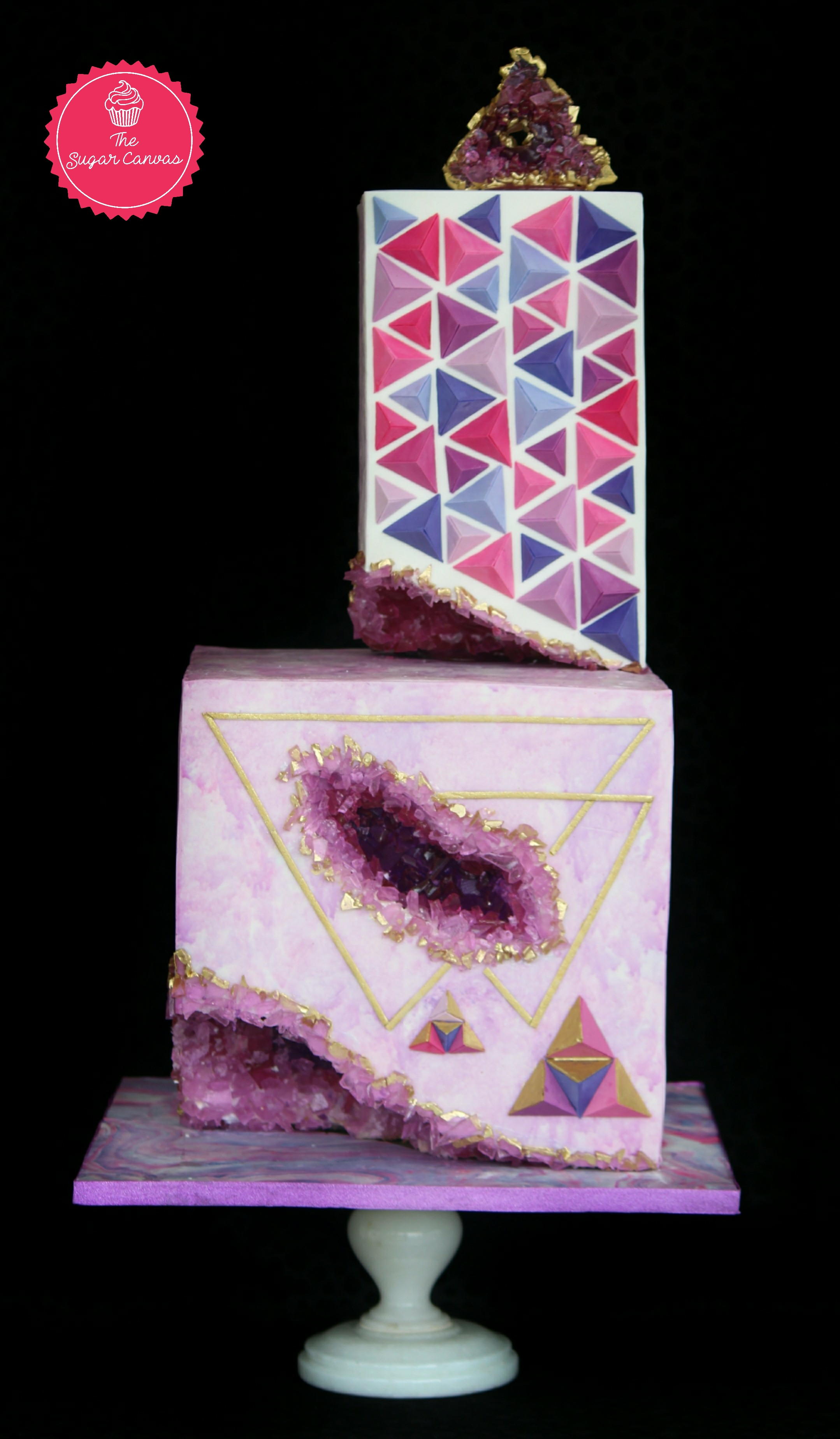 Purple and white rock geode fondant cake