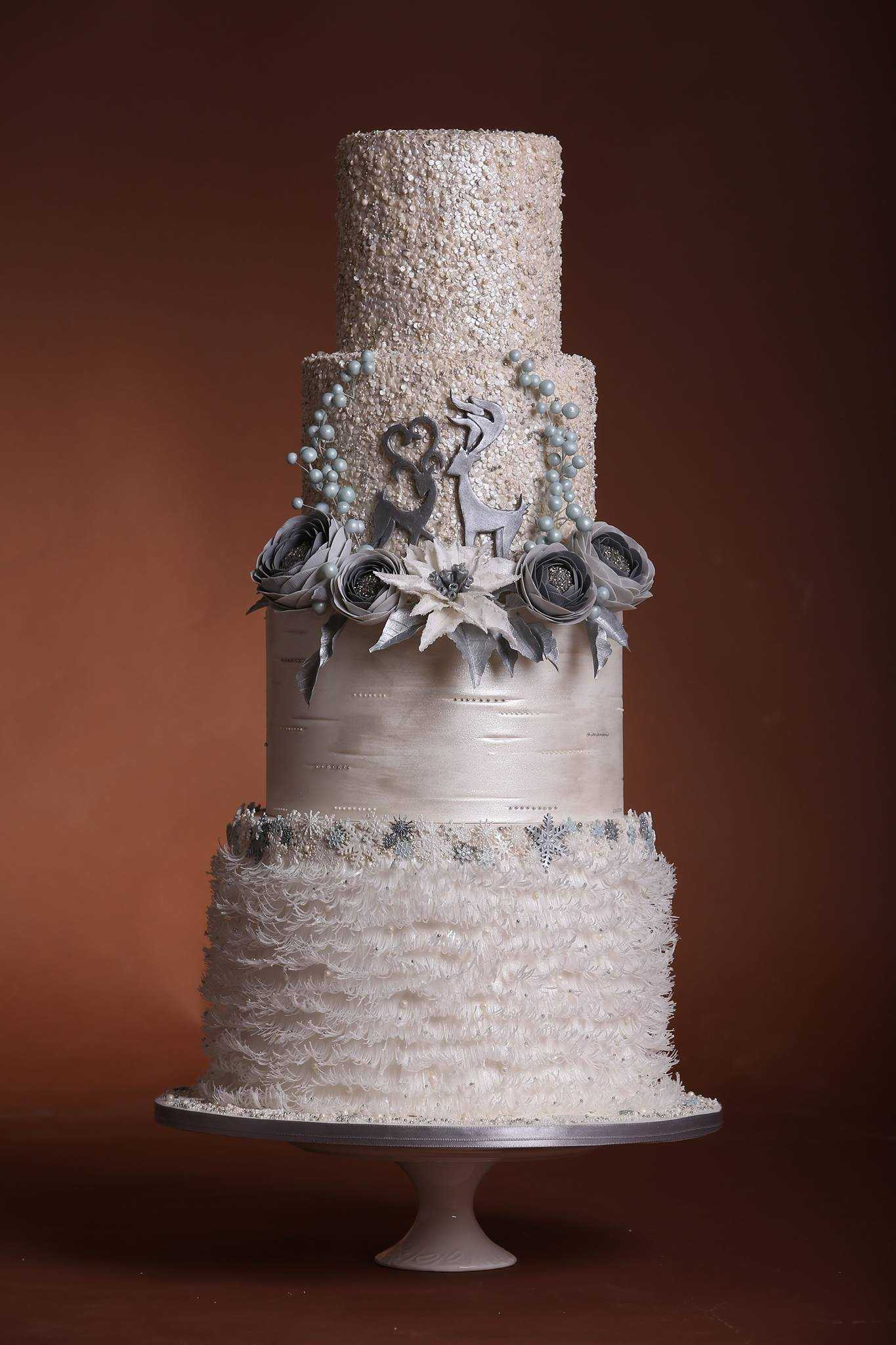 Sparkling white Christmas wedding cake