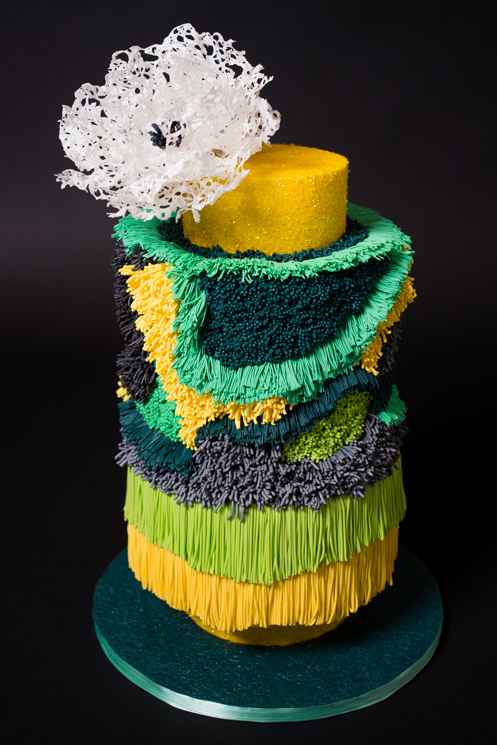 Colorful fringe cake