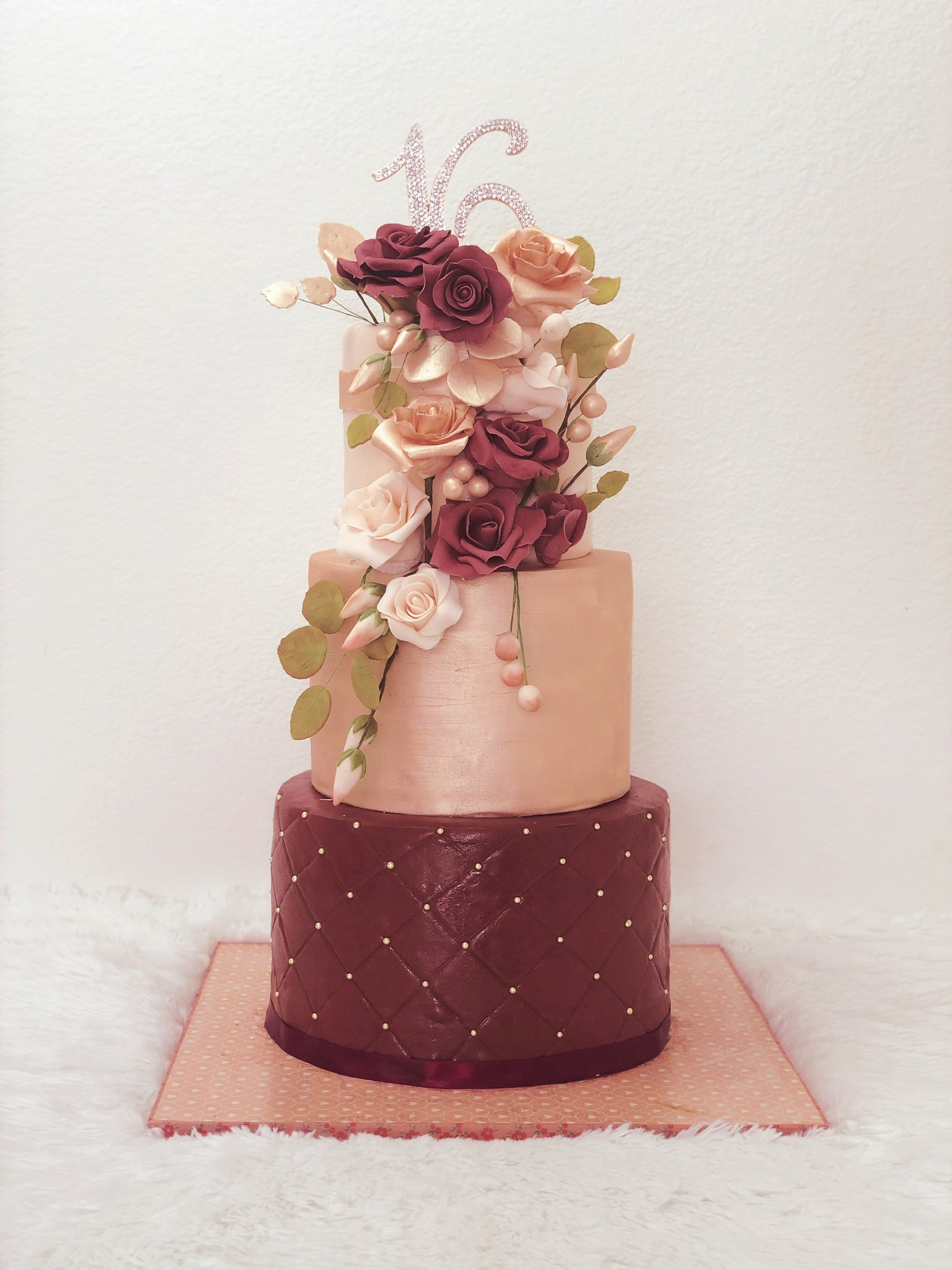 Burgundy and Taupe fondant wedding cake