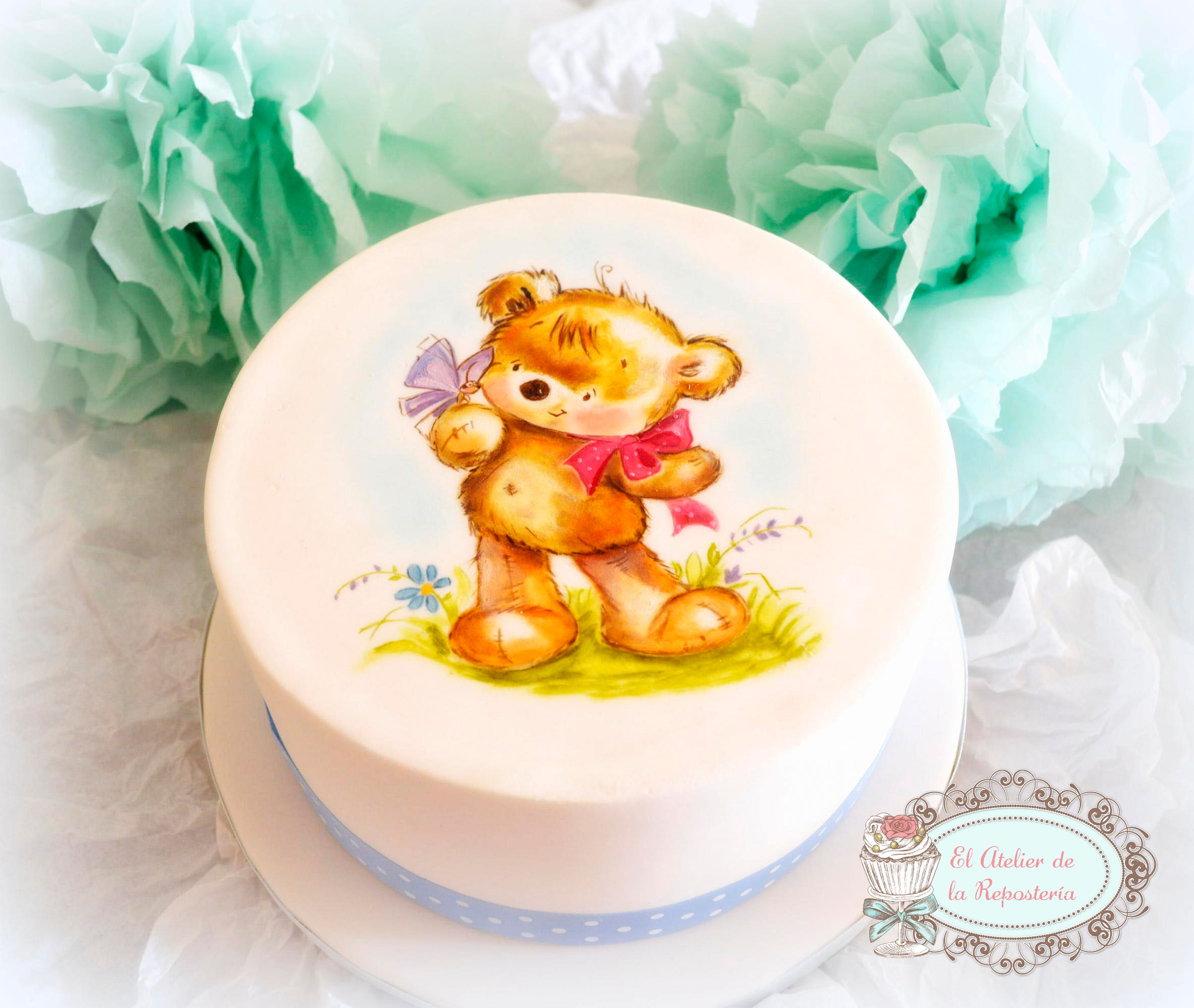 Hand  painted teddy bear baby cake