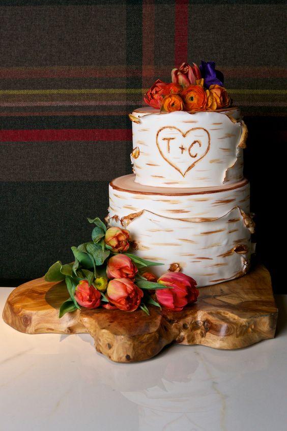 Bark inspired fall wedding cake