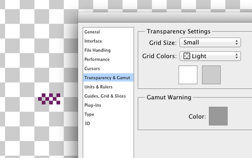 Photoshop: Transparency grid scales with image pixels