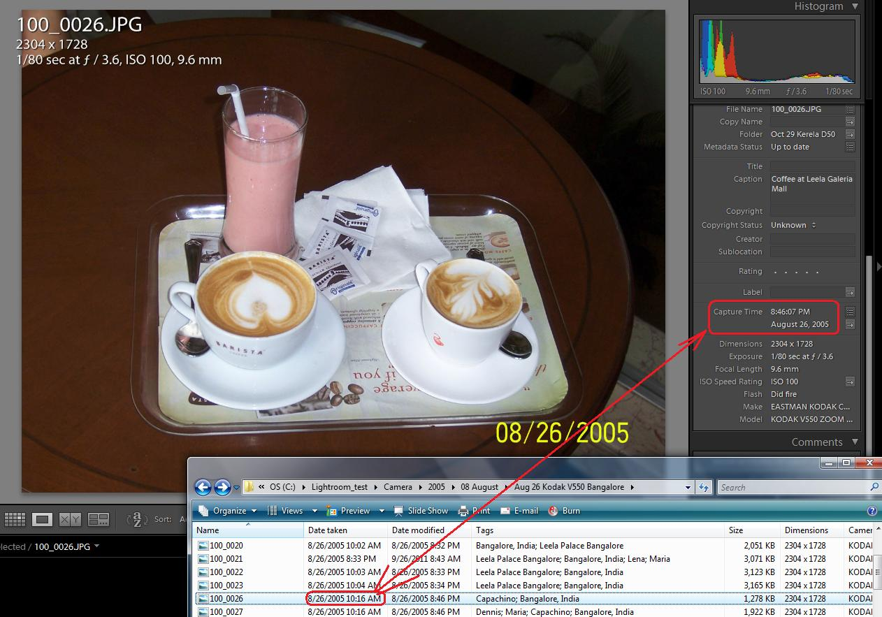 how to change date and time on an image lightroom