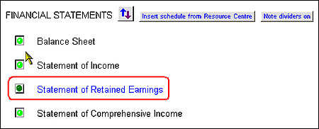 How do I put retained earnings on the same page as the