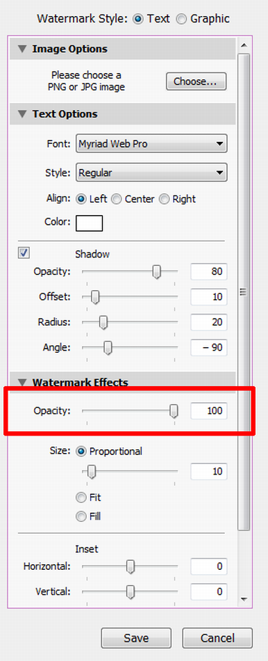 Lightroom: Is there an opacity slider for watermarks? | Photoshop