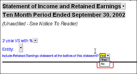 Income statement with no retained earnings statement