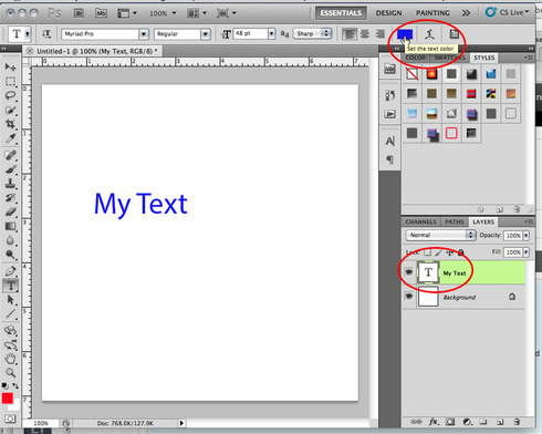 Photoshop how do i change the color of text thats already been if you have text selected on the canvas changing the color in the options bar will only change the selected characters ccuart Images