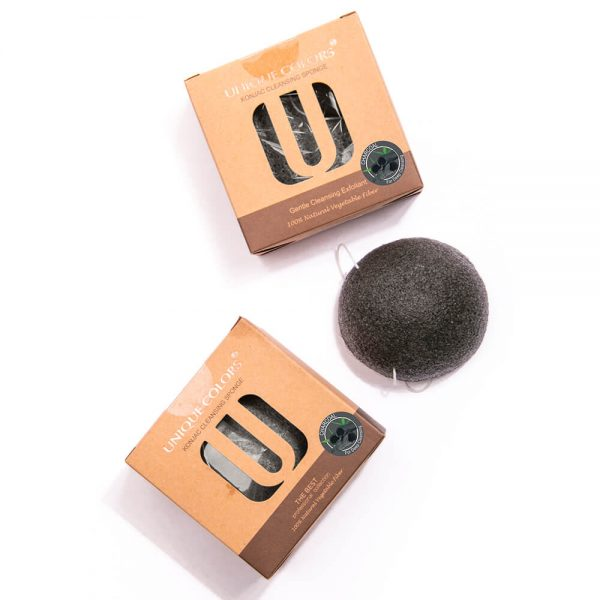 Natural Face Cleansing Konjac Sponge - Activated Charcoal