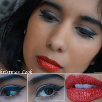 Christmas beauty look red glitter lips
