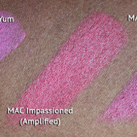 Mac candy yum yum lipstick vs impassioned vs girl about town swatch dark skin