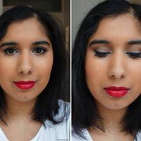 Beauty look brown eyes red lips naked1 velvet edition