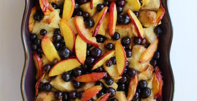 Blueberry Nectarine French Toast Casserole.