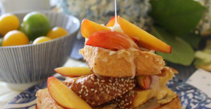 Vanilla Infused French Toast with Greek Yogurt Salted Maple Glaze & Nectarines