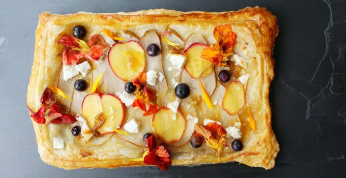 Peach, Pear, Blueberry Tart with Goat Cheese & Plum Jam