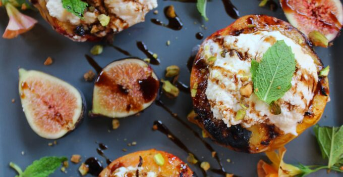 Grilled Peaches with honey laced ricotta, figs and mint