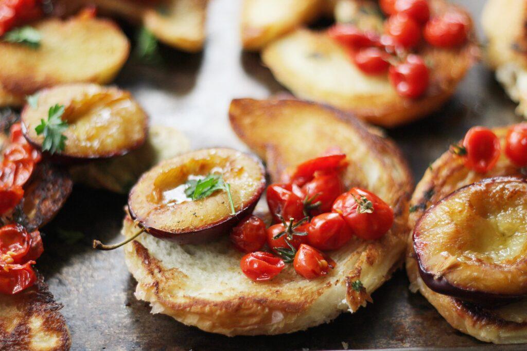 Smashed Roasted Tomato and Plum Croissants