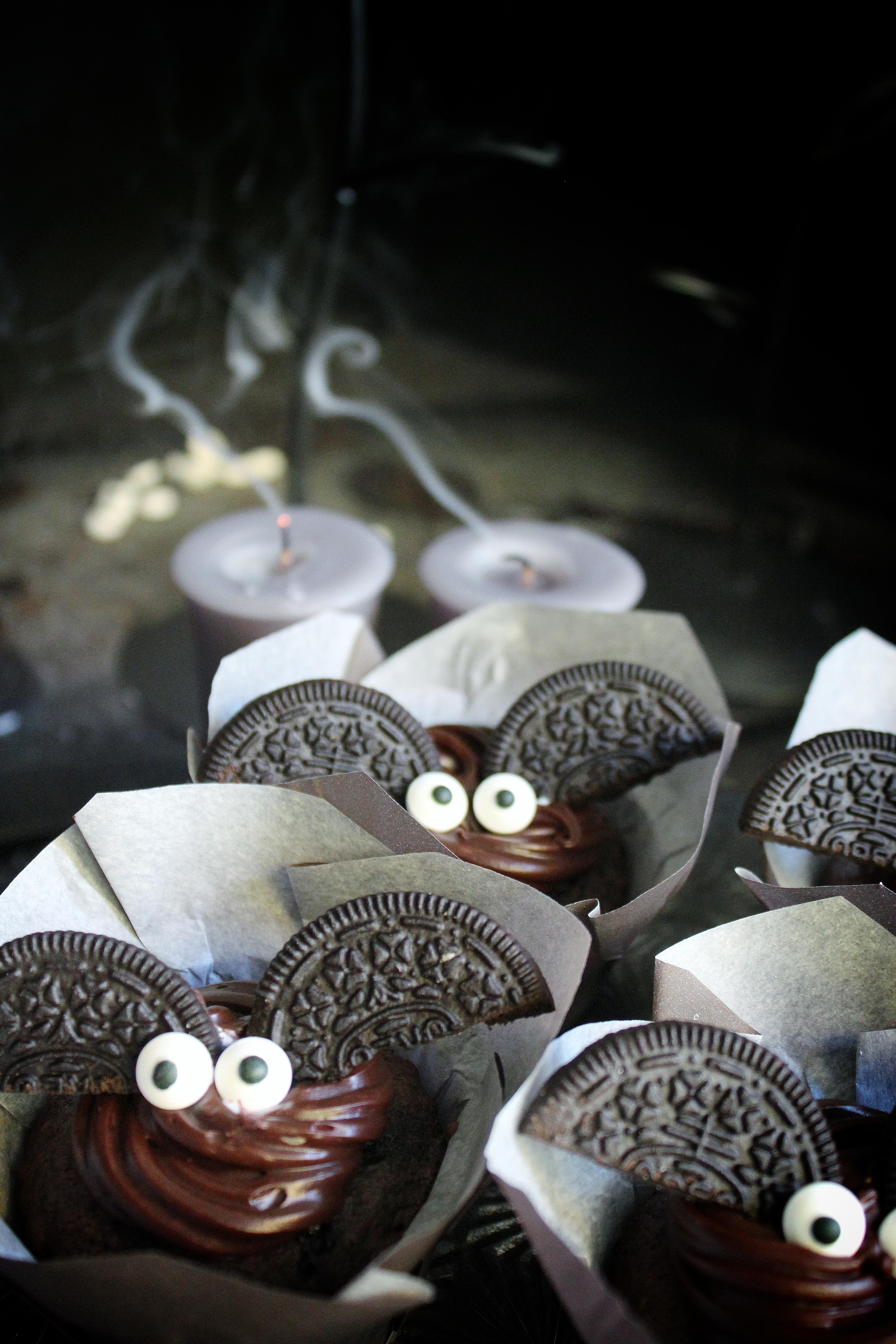 Dark Chocolate Bat Cupcakes