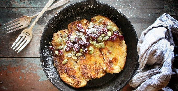 Panko Crusted Cranberry Nut Foccacia French Toast