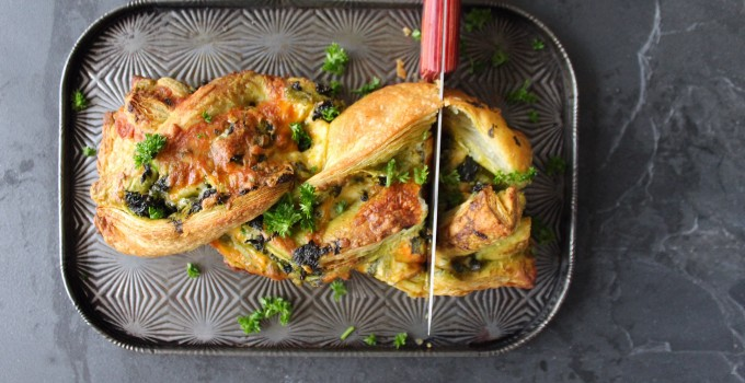 Twisted Tex Mex Cheese & Kale Puff with Pesto