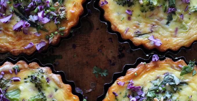 Gluten Free Spinach, Broccoli & Red Cabbage Tarts