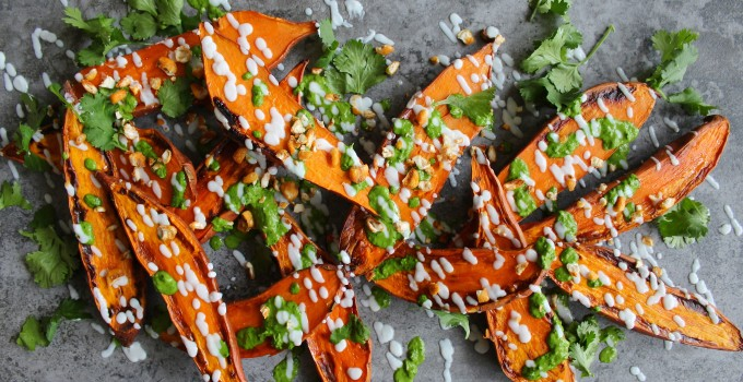 Baked Sweet Potatoes with Spinach Tahini & Zesty Chickpeas