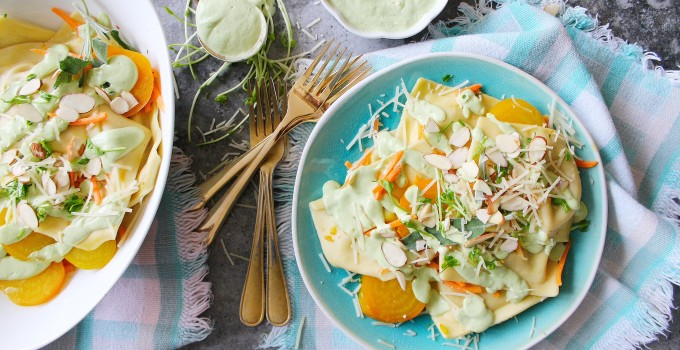 Brown Butter Avocado Sage Pasta with Root Vegetables
