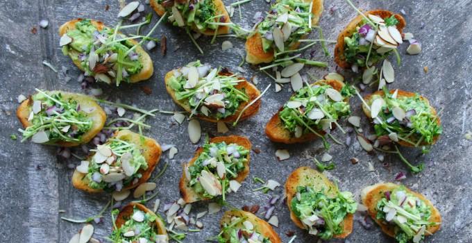Mini Garlic Croissants with Avocado & Greens