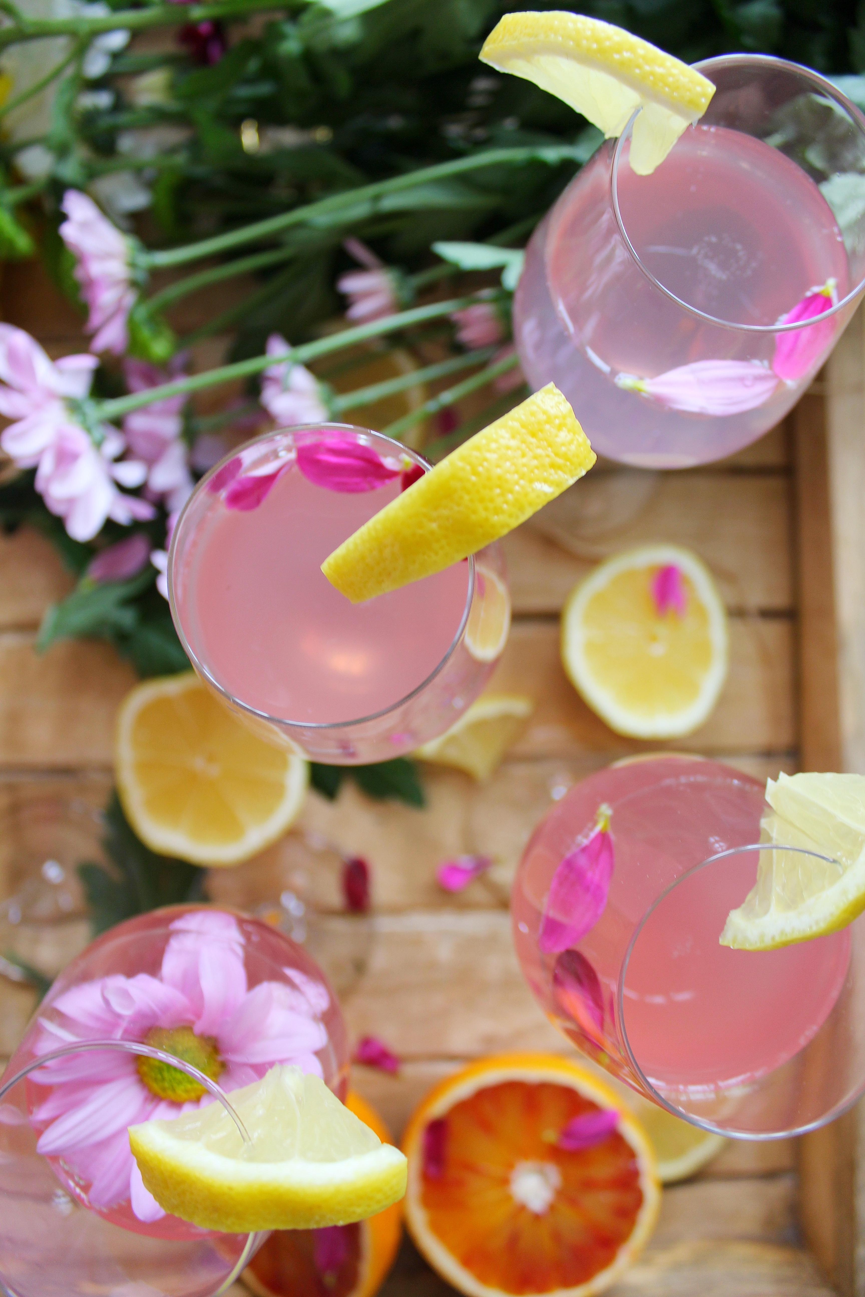 Sour Lemon Pink Mimosas
