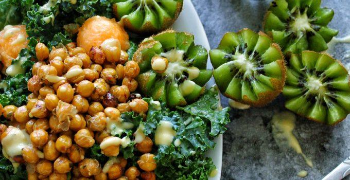 Vegan Sweet Caesar Salad with Roasted Chickpeas