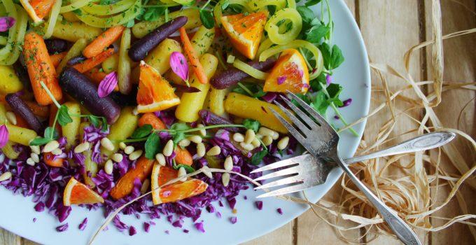 Roasted Rainbow Vegetables with Blood Orange Manuka Honey Drizzle
