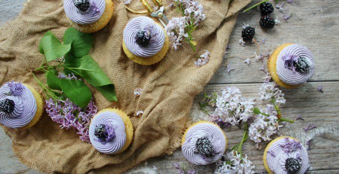 Lemon Pudding Cupcakes with Blackberry Lavender Buttercream