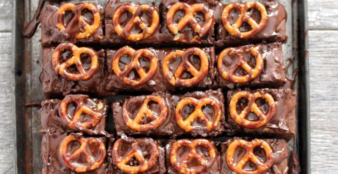 Triple Chocolate Chunk Pretzel Brownies