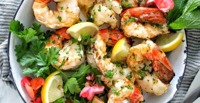 Grilled Jumbo Shrimp with Lemon Garlic Butter