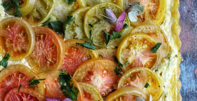 Three Cheese, Tomato and Borettane Onion Tart