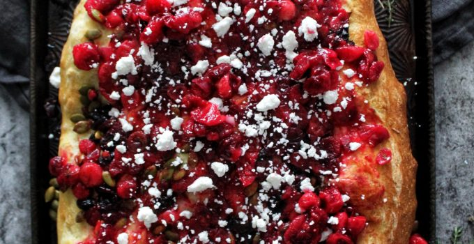 Roasted Cranberry and Goat Feta Focaccia